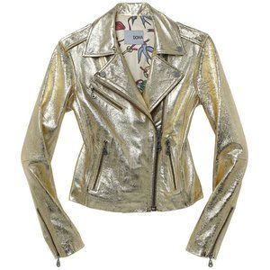 DOMA Gold Metallic Leather Biker Moto Jacket 00